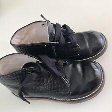 Shoes Boy Kids Size 7 Black Synthetic  #A515