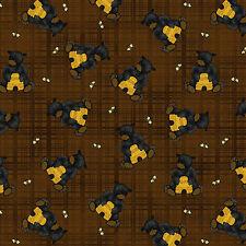 Bear Honey Bee Hive Hunny Bear Paws Plaid Brown Cotton Fabric Benartex - Yard