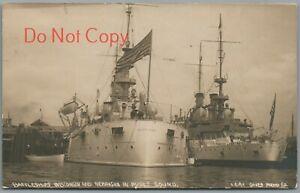 BATTLESHIPS WISCONSIN & NEBRASKA, PUGET SOUND WA- 1908 WHITE FLEET RPPC POSTCARD