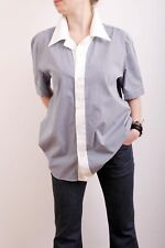 D&G Dolce Gabbana Short Sleeve Gingham Navy Check Collared Shirt UK18 Oversized