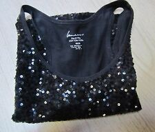"""LANE BRYANT"" Black Sequin Racer-Back Tank Sequin Front Plain Back Size 18/20"