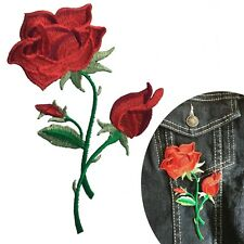 Red Rose Iron on patch - 3 head flower blossom love symbol embroidery patches