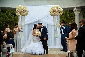 "Double layer 18' to 25' x 114"" wedding drape panel white or ivory B&G entrance."