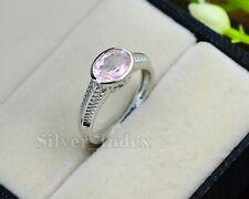 Natural Pink Morganite Gemstone 925 Sterling Silver Wedding Ring For Loved One