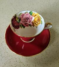 Red, Aynsley Tea Cup & Saucer, Large Triple Roses, Please Read