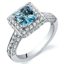 1 carat Princess Cut Swiss Blue Topaz Natural Gemstone Ring in Sterling Silver
