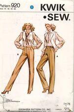 1970's VTG Kwik Sew Ladies' Pants Pattern 920 Size 14-20 UNCUT