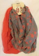 NEW Women's 2 Pack Infinity Scarves---Gray with Stars & Coral, Lightweight