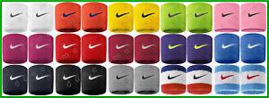 "█ NEW █ Nike Swoosh Wristbands 2-PACK 3"" Singlewide Unisex Tennis Soccer Running"