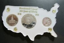 1976-S Bicentennial SILVER PROOF 3-Coin Vintage America Map Holder White