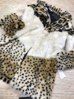 T-165~ BLANKNYC Womens Weekend Vibes Faux Fur Coat Brown Leopard Lined Sz XS