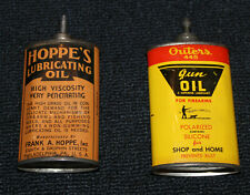 Vintage Lead Top OUTERS 445 & Hoppe's Lubricating Gun Oil Oval Tins