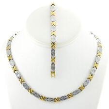 "Womens 2 Tone Hugs & Kisses Necklace & Bracelet Set in Stainless Steel XOXO 18"""