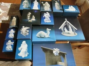 Lot Of 16 Pieces Avon Nativity Collectibles White Bisque Porcelain Figurines