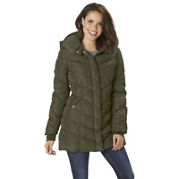 Women's Steve Madden Plus 3/4 Length Chevron Quilted Parka Olive 2X #NK4R0-851