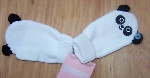 NWT GYMBOREE PANDA BLOSSOM WHITE MITTENS  0-12 months