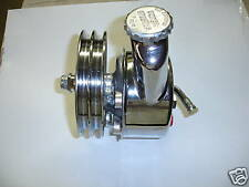 GM POWER STEERING PUMP W/ RESERVOIR AND PULLEY CHROME