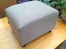 Ex- Display Hessian Fabric Upholstered Footstool British Made .