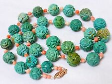 10k VINTAGE CHINESE NATURAL CARVED TURQUOISE, CORAL BEADED NECKLACE, 61 grams