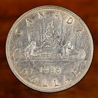 Raw 1936 Canada $1 Canadian Silver Dollar Coin