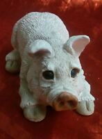 Stone Critters Pig Hog Piggy Resin Lying Down Figurine