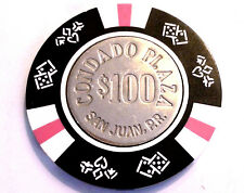 $100 CONDADO PLAZA Black White Pink Casino Chip SAN JUAN Puerto Rico Bud Jones