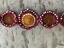 Crocheted Circles Bracelet/Free Ship Brand New Handcrafted, Brown/Gold/Red/White