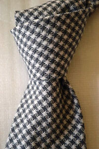 """$245 NWT TOM FORD Gray White Gingham check 3.6"""" men's Silk Wool woven Italy tie"""