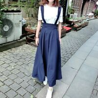 Vintage Women's Suspender Skirt Long High Waist Slim Strap Casual Half Dresses
