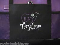 PERSONALIZED Tote bag book shopping PURPLE monogram NEW business Nurse Teacher
