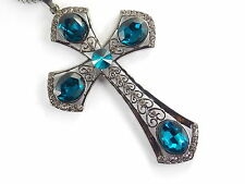 Golden chain Fashion jewelry shiny blue crystal cross pendant necklace #B