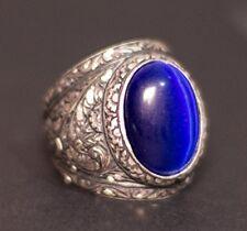 Sterling silver men ring, steel pen craft handmade, cats eye stone