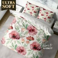 Watercolor Blossom Floral Patterns Quilt Cover Set Single Double Queen King Size