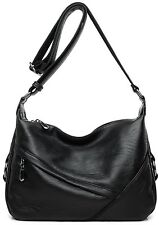 Cross body Bags For Women Medium Size soft Black Travel Zipper Tote Handbag