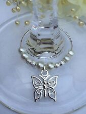 20 Ivory Pearl With Butterfly Wine Glass Charms. Wedding, Favour, Christening