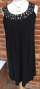 Ladies Ronni Nicole Size 14 Black Sequin Dress Summer Holiday Gorgeous L3*