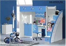 BLUE KIDS BUNK BED, DESK, WARDROBE & 5 DRAWER STAIRS (POSITION ON EITHER SIDE)