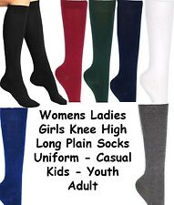 Womens Ladies Winter School Fashion Girls Knee High Long Plain Socks Kids Adult