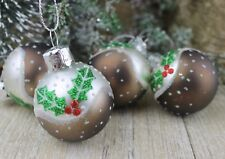 Gisela Graham Navidad Pintado Mini Cristal Pudin con ACEBO DECORACIÓN x 4