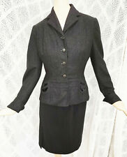 Vtg 40s Gray Wool Fitted Flared Jacket Styled Renee Fran For Craftshire Xs - S