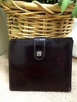 Bosca USA Hand Stained Cow Hide Leather Wallet Brown Bifold Kiss Lock Coin Purse