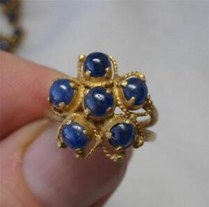 Sapphire 18K Gold Ring Antique Art Deco Estate Wedding Engagement Jewelry Rare