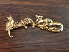2 Cat Gold Tone Pins Brooch Animal Meow Fashion Jewelry