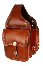 Acorn Tooled Leather Western Saddle Bags Motorcycle w/ Engraved Conchos 101SB