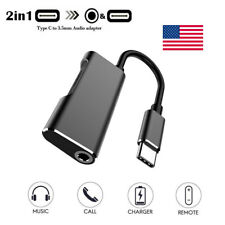 2-in-1 Type C to 3.5mm Earphone Headphone Audio Charger Converter Adapter Cable