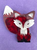 Fantastic Mr Fox Art Deco Layered Vintage Style 3D Red Brooch