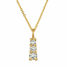 0.80 Carat Natural Diamond Necklace Pendant 14K Yellow Gold G SI 18 inches chain