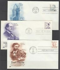 Us Sc 2193/2196 Fdcs 1986-1987 Great Americans High Values, 3 different, Vf