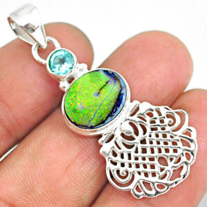 3.75cts Multi Color Sterling Opal Topaz 925 Sterling Silver Pendant R84592
