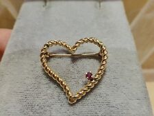 Estate 14k yellow gold twist rope 3D textured open heart ruby brooch pin 3.3g